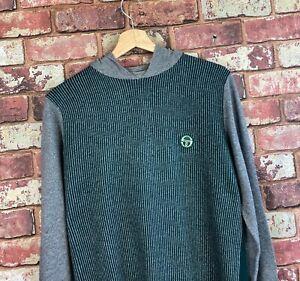 Sergio Tacchini Mens Wool Hoodie Hooded Jumper Top Size Medium  : A623
