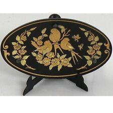 Damascene Gold Oval Bird Miniature Decorative Plate by Midas of Toledo Spain