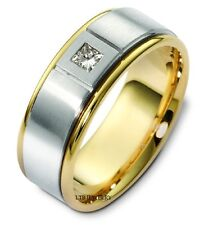 10K TWO TONE GOLD MENS DIAMOND WEDDING BAND RING  7MM