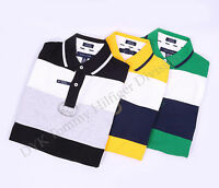 Tommy Hilfiger Men Double Stripe Crest Polo Shirt Short Sleeve -Free $0 Shipping