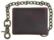 RFID Blocking Vintage Hunter Brown Leather Men's Biker Chain Bifold Wallet