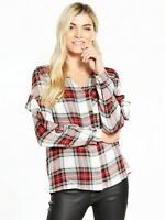 New Ladies Size 10 Shirt Red Check Long Sleeves V Neck Free P&P!!