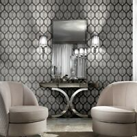 Ogee Black gray silver metallic diamonds textured lines Geometric Wallpaper 3D