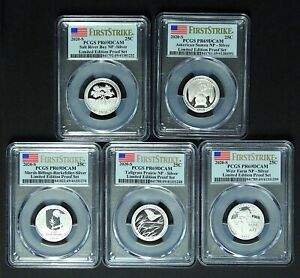 2020 S 25C ATB Silver Set All 5 Coins PR69DCAM Limited Edition First Strike