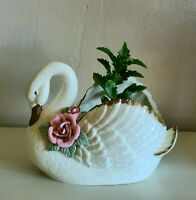 Vintage Cream/Off-White Swan with Gold Accent and Pink Rose-Ceramic Planter/Vase