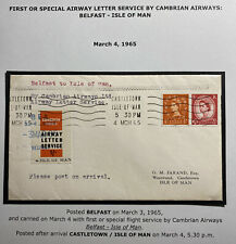 1965 Belfast England Special Flight Cover To Isle Of Man Cambrian Airway Service