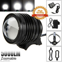 Zoomable 5000LM CREE XML T6 LED Bicycle Headlamp Bike Rechargeable Head Light