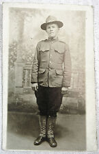 RPPC Real Picture Postcard - PRE WW1 SOLDIER - Undivided Back - AZO stamp box