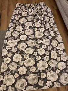 Grey And White Floral Curtains 190 Cm L X 130 Cm W Pencil Pleat