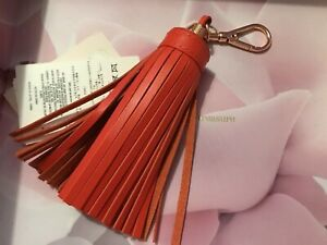 Ted Baker Designer Leather Bag Charm Keyring BNWTS RRP £45 Dk Orange