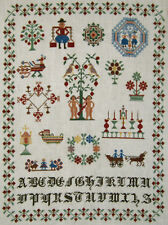LOVELY! COMPLETED DUTCH REPRODUCTION CROSS STITCH SAMPLER FINISHED NEEDLEPOINT