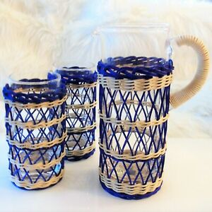 5PC Williams Sonoma Recycled CANE WRAPPED PITCHER +2 TUMBLER Glass Navy Seagrass