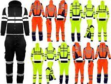 NEW MEN'S HI VIS VIZ TROUSERS SAFETY WORK WEAR JOGGING BOTTOMS PANTS HOODIE TOP