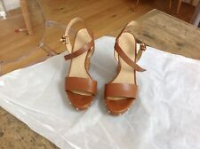 Michael Kors Tan Leather Wedges With Gold Studs Size 5.5