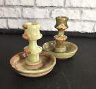 Pair+Onyx+Pakastan+Marble+Candle+Holders+Green+Brown