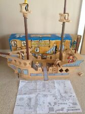"""Large Wooden Pirate Ship playset with plenty of figures & accessories 27"""" Long"""