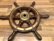 Vintage Original Mahogany & Brass trim Ships Wheel Maritime Marine Boat Nautical