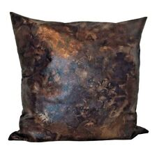 "Faux Leather Brown/Black Golden Effects 18x18"" Throw Pillow Case / Cushion Cover"