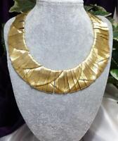 Vintage Signed LES BERNARD Egyptian Revival Gold-tone Cleopatra Necklace