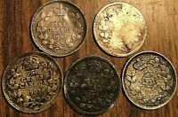 LOT OF 5 CANADA SILVER 5 CENTS COINS