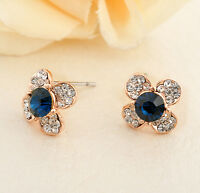 New 18K Gold Filled Blue Sapphire 12mm Flower Stud Earrings Wedding Stunning
