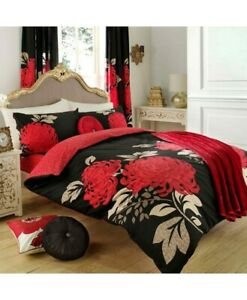 Duvet Cover Set With Pillowcases KEW Black/Red Super King Size