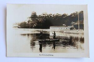 China, Peking, Yei-Wo Lake, Boatman, 1920's RP Postcard
