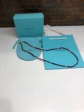 "Tiffany & Co. Ziegfeld Black Spinel Pearl Necklace AG925 20"""