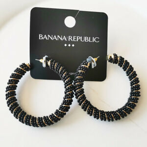 New Banana Republic Heavy Beads C Hoop Earrings Gift Fashion Women Party Jewelry