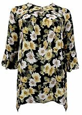 New Emily Bell Sleeve Floral Green Yellow Tunic Top Plus Size 16 - 26
