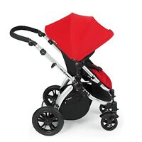 Ickle Bubba Stomp v2 3-in-1 Baby Travel System - Red on Silver Frame Combination