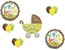 Stroller Carriage Pram BABY SHOWER Fisher Price Jungle Welcome Baby Balloons Set