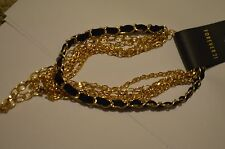 Forever 21 Multi-Chain Layered Necklace Black & Gold Tone