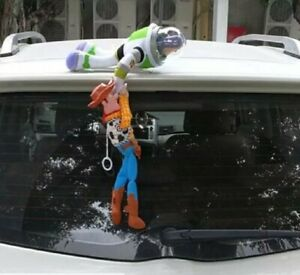 2PC Toy Story 4 Sherif Woody + Buzz Lightyear Car Plush Doll Hanging Xmas Gift