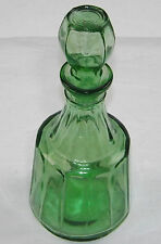 Emerald Green Pressed Art Glass Ribbed Oil Vinegar Perfume Bottle Art Deco Style