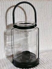 "Yankee Candle Glass Jar Candle Holder Hanging Table Black 12"" w/ Handle Votive"