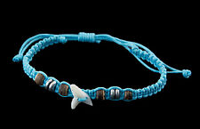 Bracelet brazilian tooth of shark real and pearls wood thread Blue- BB 987