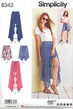 SIMPLICITY SEWING PATTERN 8343 MISSES 14-22 WRAP FRONT SKIRT, SHORTS - 2 LENGTHS