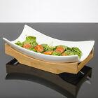 """""""Sumatra"""" Designer Céramique Service De Plat avec Bambou Base en Blanc Brillant"""