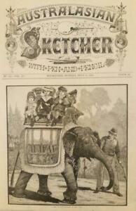 "Antique PRINT-AUSTRALASIAN SKETCHER MAGAZINE-""Elephant Ride, Melbourne Zoo"" 1883"
