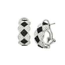 Geometric Checker Hoop Earrings With Swarovski Crystals, Platinum-Plated Bronze