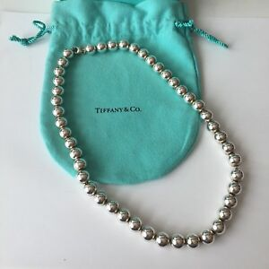 """Tiffany & Co Silver ALL 10mm Beaded Bead Ball 18"""" Necklace POUCH!"""