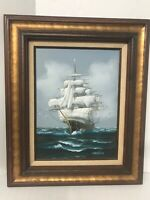 "Hewitt Jackson Oil Painting Signed Maritime Nautical Sailing Ship 24""x 20"""