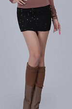 Black Sparkle Sequin Retro Stretch Micro Mini Tube Pencil Skirt 71032