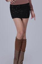 Black Sparkle Sequin Retro Form Fitting Stretch Micro Mini Tube Skirt 71032