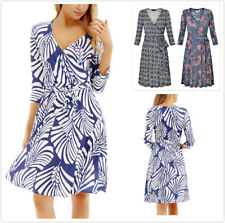 Women Long Sleeve Long Dress with Lace Up Slim Waist V-Neck Printed Dresses kQ