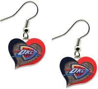 OKLAHOMA CITY THUNDER - SWIRL HEART LOGO - DANGLE EARRINGS - NBA-ER-245-31