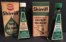 Vintage Lot of 2 SALADA Shirriff Food Coloring Boxes And Bottles Green