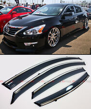 CLIP-ON TYPE SMOKE WINDOW VISOR W/ CHROME TRIM FOR 2013-15 NISSAN ALTIMA SEDAN