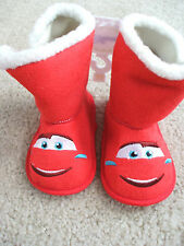 Cars Baby Snow Boots Red Lightning McQueen 9-12 Months NWT Disney Fleece Lining!